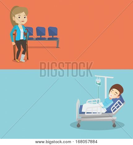 Two medical banners with space for text. Vector flat design. Horizontal layout. Injured caucasian woman with leg in plaster. Woman with broken leg using crutches. Young woman with fractured leg.