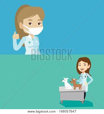 Two medical banners with space for text. Vector flat design. Horizontal layout. Young caucasian veterinarian with stethoscope examining dogs in hospital. Female veterinarian with dogs at vet clinic.