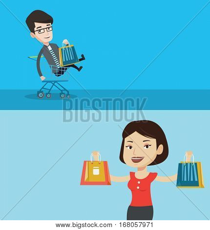 Two shopping banners with space for text. Vector flat design. Horizontal layout. Carefree customer having fun while riding by shopping trolley. Caucasian man with shopping bags sitting in trolley.