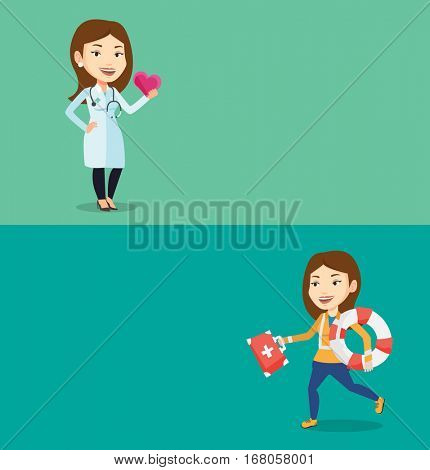 Two medical banners with space for text. Vector flat design. Horizontal layout. Cardiologist with heart in hand. Cardiologist holding heart. Concept of health care and prevention of heart problems.