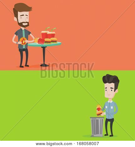 Two food banners with space for text. Vector flat design. Horizontal layout. Young man putting fast food into a trash bin. Man refusing to eat fast food. Man throwing away french fries and hamburger.