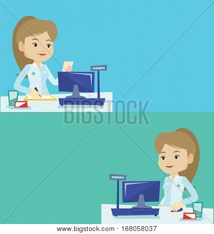 Two medical banners with space for text. Vector flat design. Horizontal layout. Pharmacist writing on clipboard. Pharmacist with prescription at pharmacy counter. Pharmacist reading prescription.