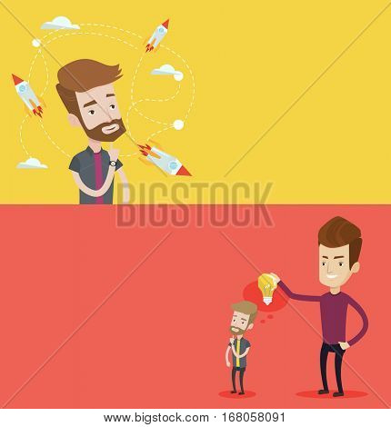 Two business banners with space for text. Vector flat design. Horizontal layout. Caucasian businessman looking at flying business rockets. Businessman came up with idea for business startup.