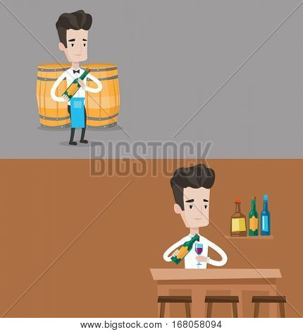 Two drinks banners with space for text. Vector flat design. Horizontal layout. Waiter holding bottle of wine. Waiter with bottle of wine standing on the background of barrels. Barman pouring wine.