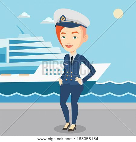 Caucasian captain on the background of sea and cruise ship. Smiling ship captain in uniform on seacoast background. Ship captain standing at the port. Vector flat design illustration. Square layout.