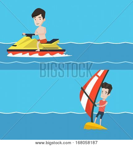 Two sport banners with space for text. Vector flat design. Horizontal layout. Man on a water scooter. Man riding on a water scooter. Excited man training on a water scooter. Young guy windsurfing.