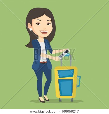 Young woman holding travel insurance tag. Business class passenger standing near suitcase with priority luggage tag. Business woman showing luggage tag. Vector flat design illustration. Square layout. poster