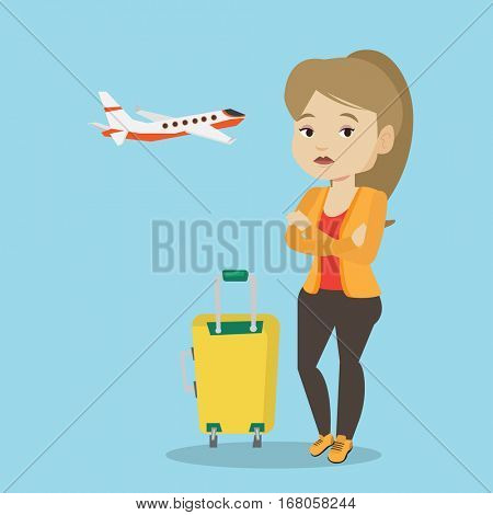 Caucasian airplane passenger frightened by future flight. Woman suffering from fear of flying. Terrified passenger with suitcase waiting for a flight. Vector flat design illustration Square layout.