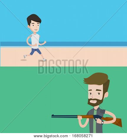 Two sport banners with space for text. Vector flat design. Horizontal layout. Man jogging on the beach. Man running on the beach. Young man running along the seashore. Guy enjoying jogging on beach.