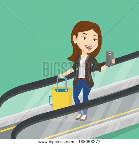 Woman using smartphone on escalator in airport. Woman standing on escalator with suitcase and looking at mobile phone. Woman going down on escalator. Vector flat design illustration. Square layout.