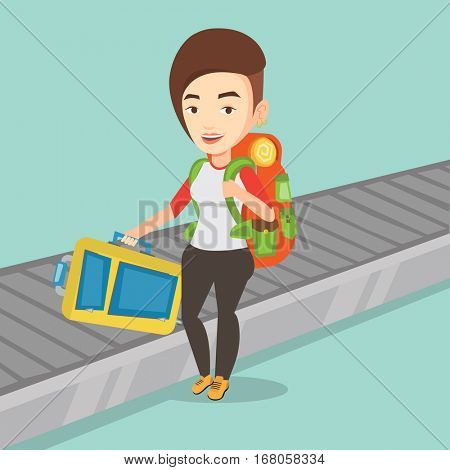 Woman picking up suitcase on luggage conveyor belt at airport. Woman collecting her luggage at conveyor belt. Woman taking luggage at conveyor belt. Vector flat design illustration. Square layout.