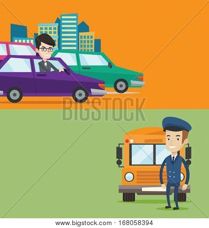 Two transportation banners with space for text. Vector flat design. Horizontal layout. Caucasian school driver standing in front of yellow bus. School bus driver in uniform. Cheerful school bus driver