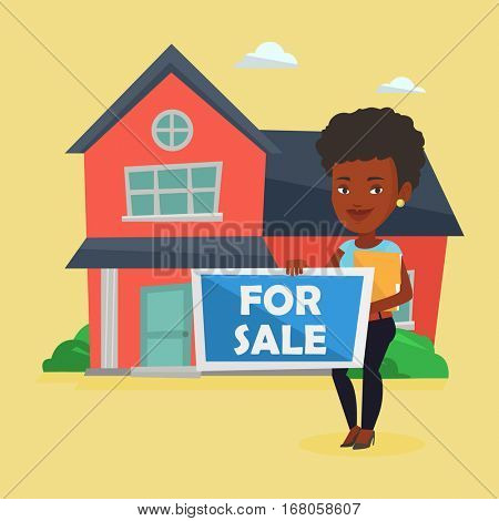 African-american realtor offering the house. Young female realtor with placard for sale and documents in hands standing on the background of house. Vector flat design illustration. Square layout.