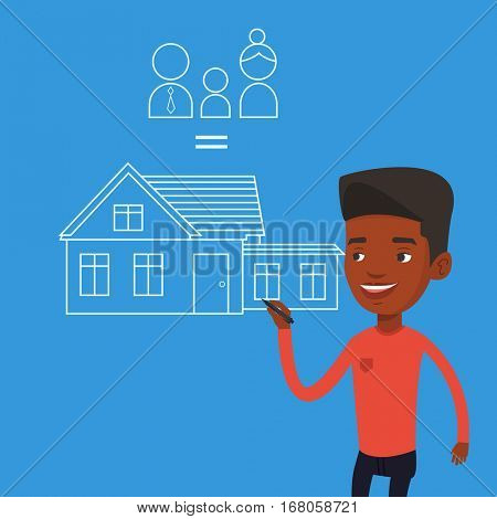 Young african-american man drawing family house. Smiling man drawing a house with a family. Happy man dreaming about future life in a new family house. Vector flat design illustration. Square layout