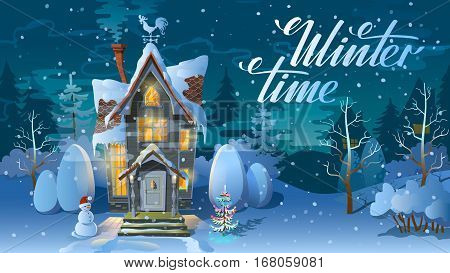 Winter time. Night of Christmas the Family house before a holiday. An illustration for a card. New Year's poster. Rasterized Copy