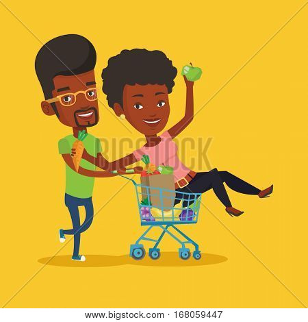 Happy african-american man pushing a shopping trolley with her friend. Couple of young carefree friends having fun while riding by shopping trolley. Vector flat design illustration. Square layout.