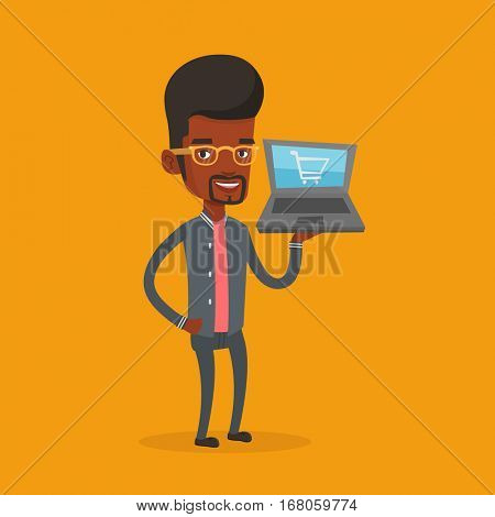 Young african-american man using laptop for shopping online. Happy customer holding laptop with shopping trolley on a screen. Man doing online shopping. Vector flat design illustration. Square layout.