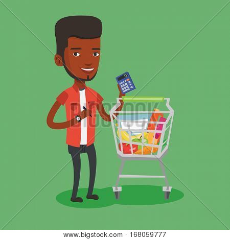 African-american man standing near supermarket trolley with calculator in hand. Young man checking prices on calculator. Customer counting on calculator. Vector flat design illustration. Square layout