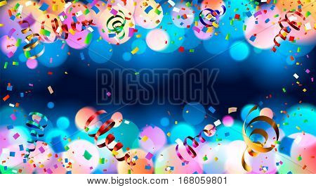 Dark blue holiday background with colorful shining bokeh and serpentine. Rasterized Copy
