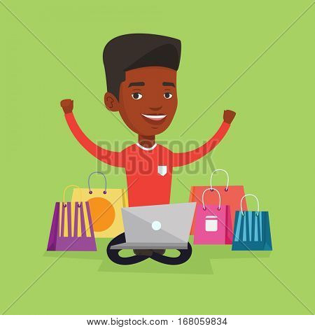 Young african-american man with hands up using laptop for shopping online. Happy man sitting with shopping bags around him. Man doing online shopping. Vector flat design illustration. Square layout.