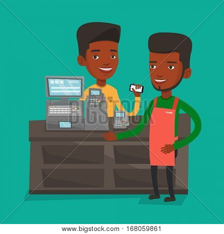 Man paying wireless with his smartphone at the supermarket checkout. Customer making payment for purchase with smartphone. Cashier accepting payment. Vector flat design illustration. Square layout.