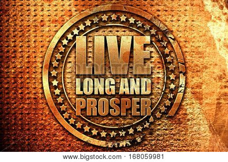live long and prosper, 3D rendering, grunge metal stamp