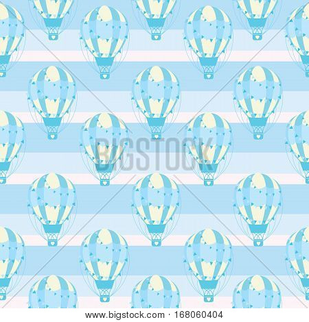 Baby shower seamless pattern with cute blue hot air balloon on stripes background suitable for baby shower wallpaper, fabric, and scrap paper
