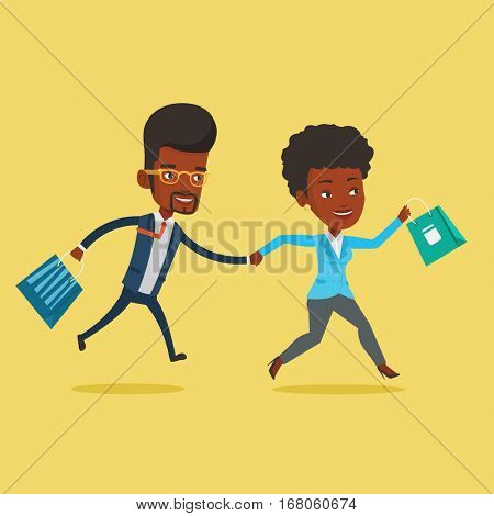 People rushing to shopping. Woman and man running in hurry to the store on sale. Young african-american customers rushing to promotion and discount. Vector flat design illustration. Square layout.
