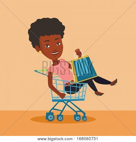 Young carefree customer having fun while riding by shopping trolley. African-american woman with a lot of shopping bags sitting in shopping trolley. Vector flat design illustration. Square layout.