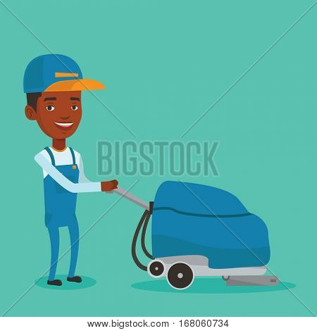 Young african-american man cleaning supermarket floor. Friendly man working with cleaning machine. Male worker of cleaning services in supermarket. Vector flat design illustration. Square layout