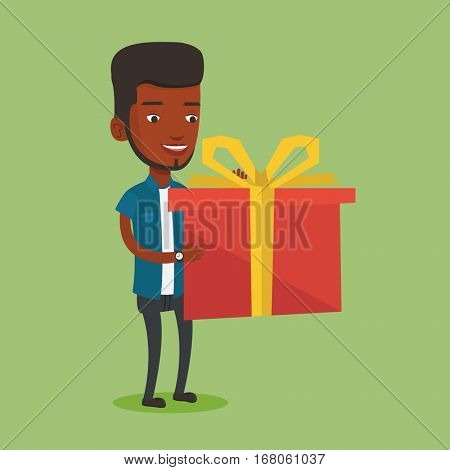 Smiling african-american man holding a box with gifts in hands. Happy man holding gift box. Young man standing with gift box. Guy buying a present. Vector flat design illustration. Square layout.