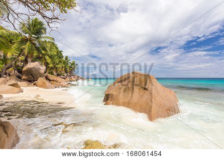 Pictur perfect tropical Anse Patates beach on La Digue Island, Seychelles. Summer vacations on picture perfect tropical beach concept.