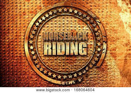 horseback riding, 3D rendering, grunge metal stamp
