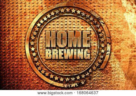 home brewing, 3D rendering, grunge metal stamp