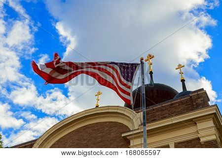 American Flag And Old Church Steeple Reflect Separation Of State