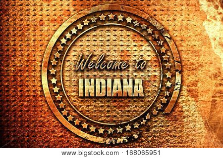 Welcome to indiana, 3D rendering, grunge metal stamp