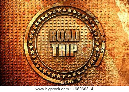 roadtrip, 3D rendering, grunge metal stamp