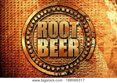 root beer, 3D rendering, grunge metal stamp
