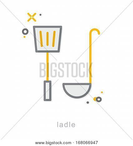 Thin line icons, Linear symbols, Ladle icon