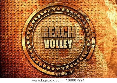 beach volley sign, 3D rendering, grunge metal stamp