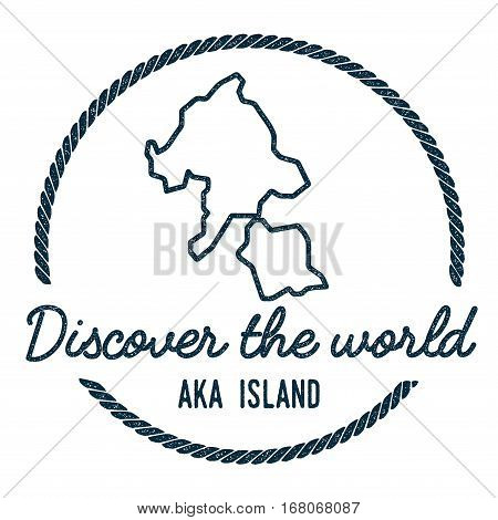 Aka Island Map Outline. Vintage Discover The World Rubber Stamp With Island Map. Hipster Style Nauti