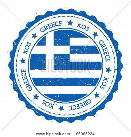 Kos Flag Badge. Vintage Travel Stamp With Circular Text, Stars And Island Flag Inside It. Vector Ill