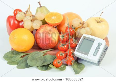 Vintage Photo, Blood Pressure Monitor And Fruits With Vegetables, Healthy Lifestyle