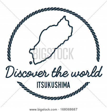 Itsukushima Map Outline. Vintage Discover The World Rubber Stamp With Island Map. Hipster Style Naut