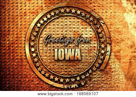Greetings from iowa, 3D rendering, grunge metal stamp