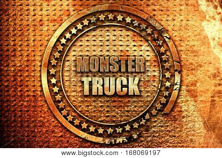 monster truck sign background, 3D rendering, grunge metal stamp