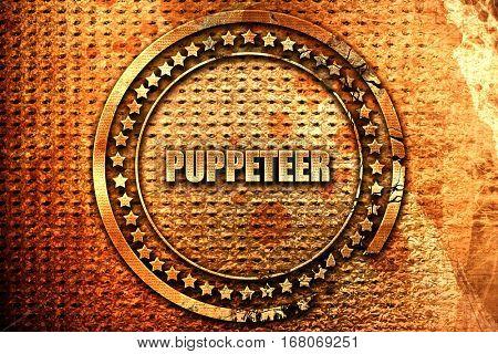 puppeteer, 3D rendering, grunge metal stamp