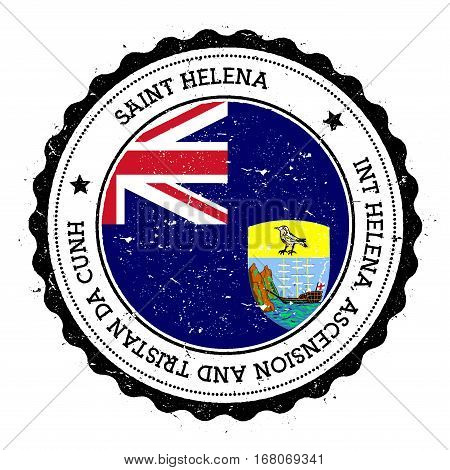 Saint Helena Flag Badge. Vintage Travel Stamp With Circular Text, Stars And Island Flag Inside It. V
