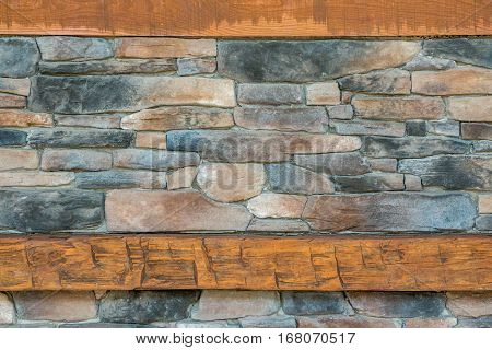 rocky background with wood mantle at bottom and top