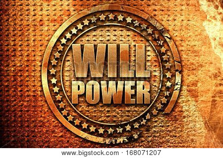 willpower, 3D rendering, grunge metal stamp